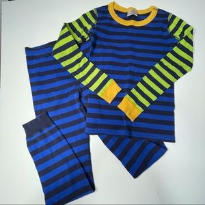 Hanna Andersson Striped Long John Pajamas Size 10